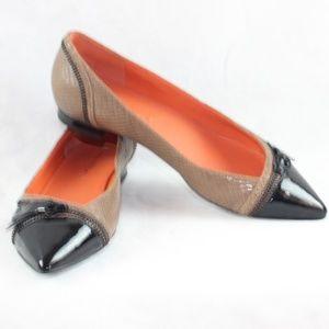 Via Spiga Patent Leather & Zipper Detail Flats